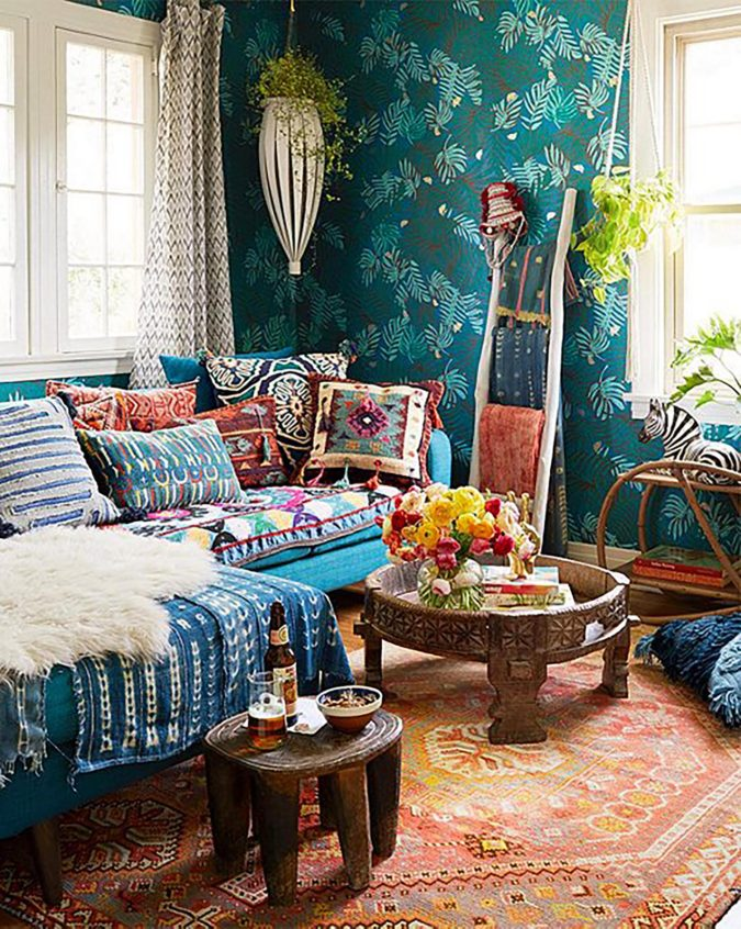 Vintage-bohemian-living-room-1-675x846 70+ Hottest Colorful Living Room Decorating Ideas in 2021