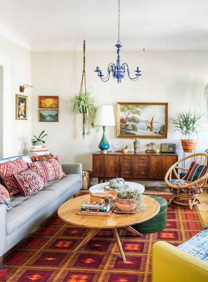 Vintage-bohemian-living-room-675x915 70+ Hottest Colorful Living Room Decorating Ideas in 2021