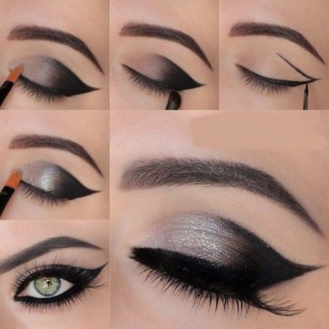 black-and-silver-1-675x673 60+ Hottest Smokey Eye Makeup Looks in 2020