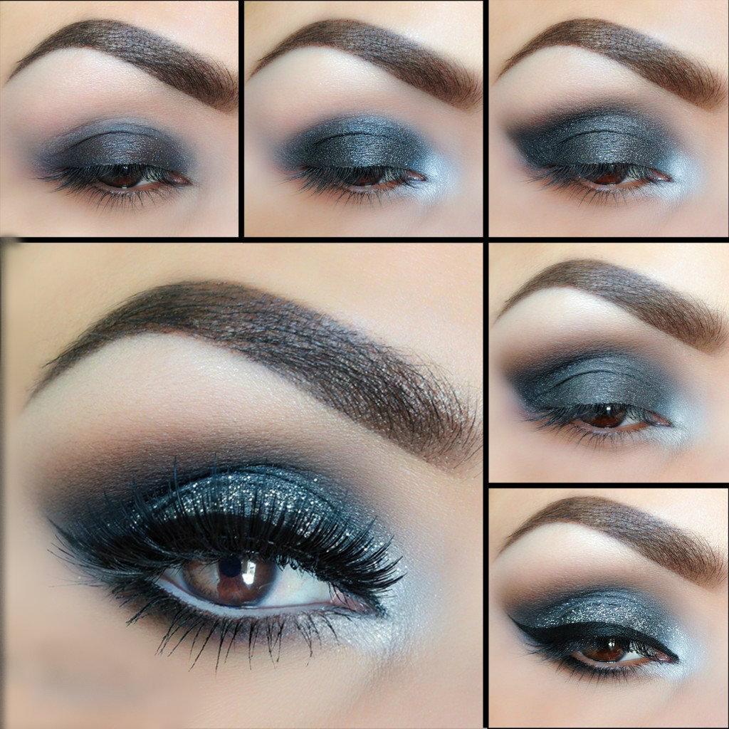blue-and-silver-smokey-eye 60+ Hottest Smokey Eye Makeup Looks in 2020