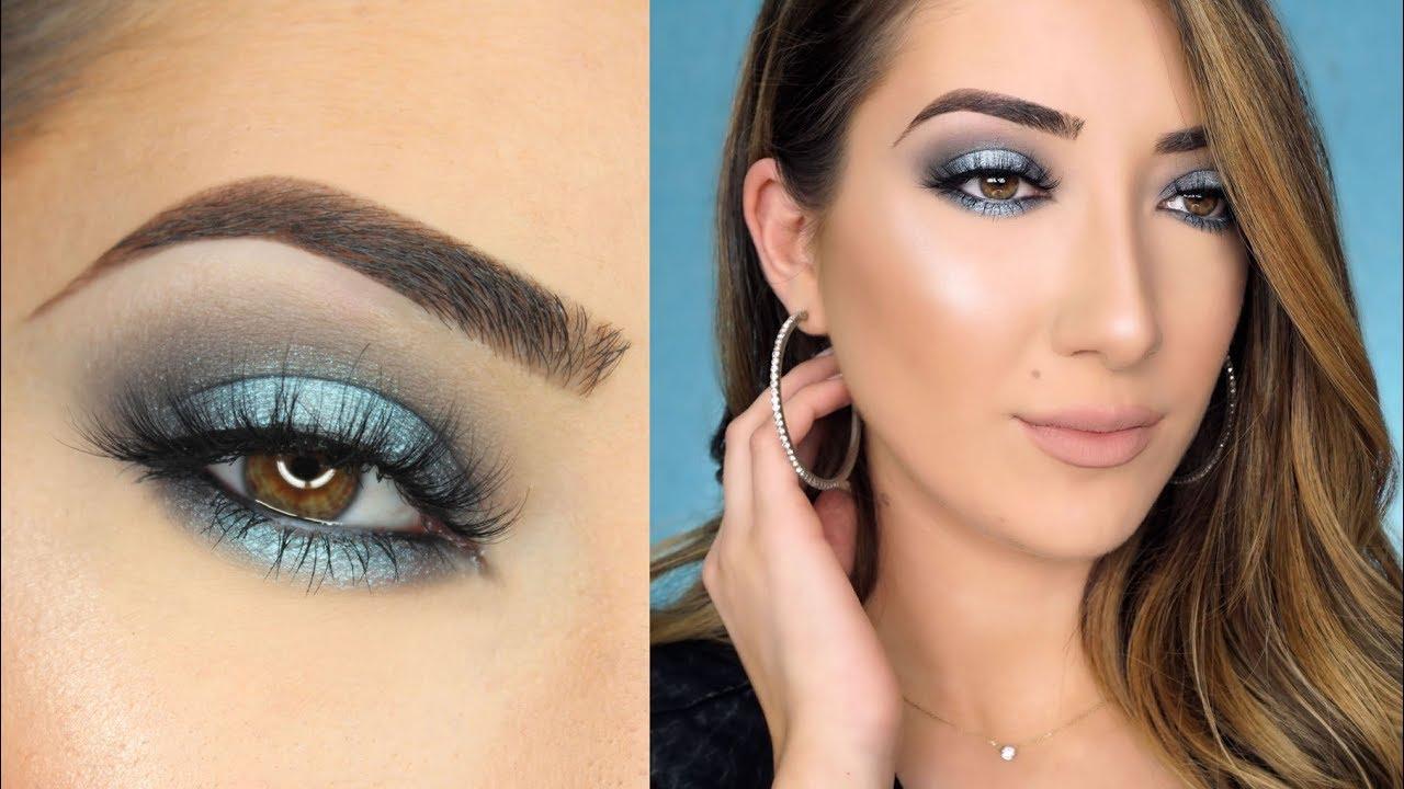 bluish-grey-smokey-eye-1 60+ Hottest Smokey Eye Makeup Looks in 2020