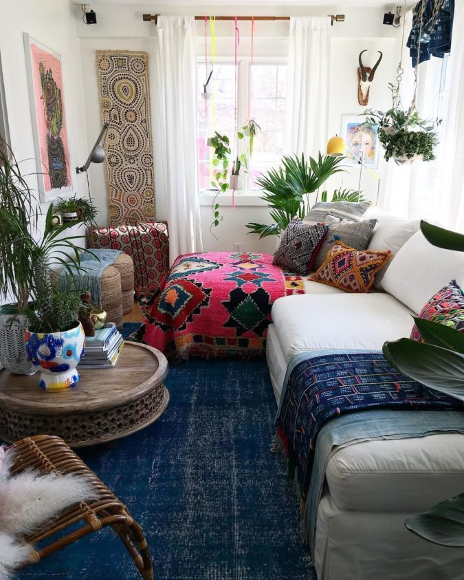 bohemian-living-room-675x843 70+ Hottest Colorful Living Room Decorating Ideas in 2021