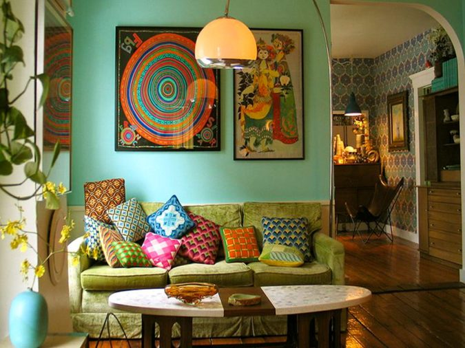 bohemian-living-room.-675x506 70+ Hottest Colorful Living Room Decorating Ideas in 2021