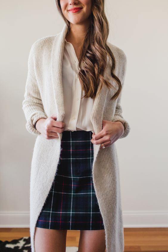 cardigan-and-pencil-skirt What Women Should Wear for a Business Meeting [60+ Outfit Ideas]