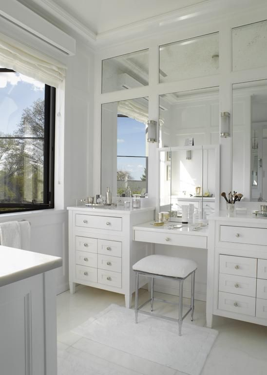 paneled-mirror-vanity.-1 Hottest 50+ Stylish Makeup Vanity Ideas