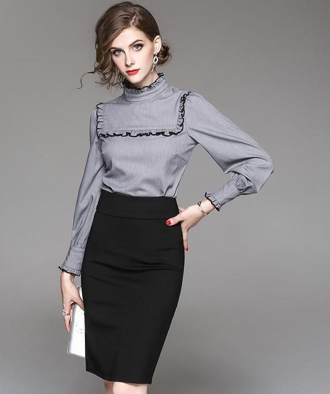 women-business-outfit-skirt-and-shirt-2 What Women Should Wear for a Business Meeting [60+ Outfit Ideas]