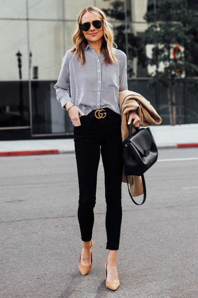 women-outfit-black-jeans-shirt-675x1013 What Women Should Wear for a Business Meeting [60+ Outfit Ideas]
