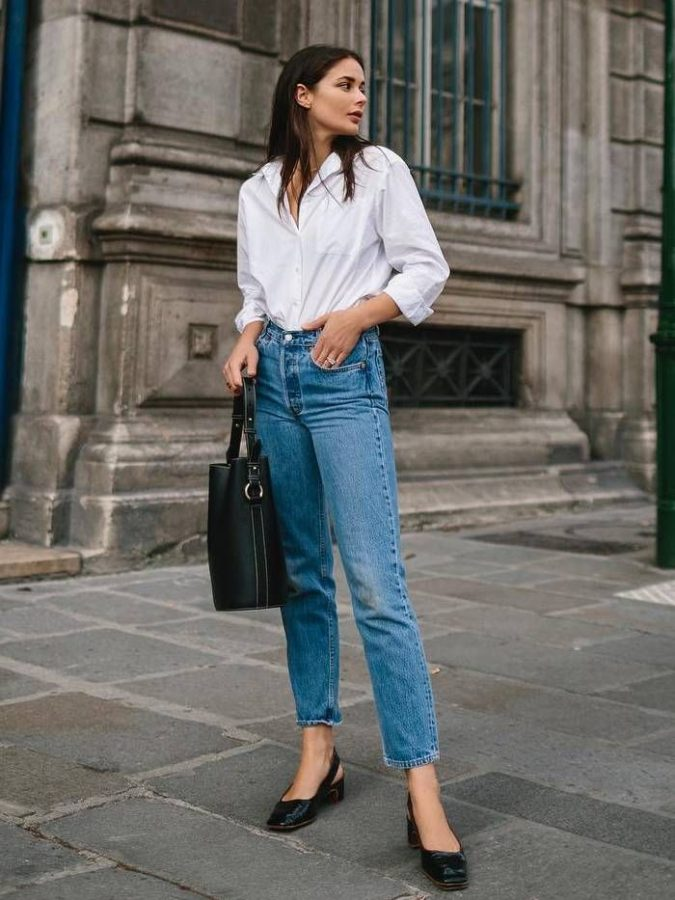 women-outfit-jeans-white-shirt-675x900 What Women Should Wear for a Business Meeting [60+ Outfit Ideas]