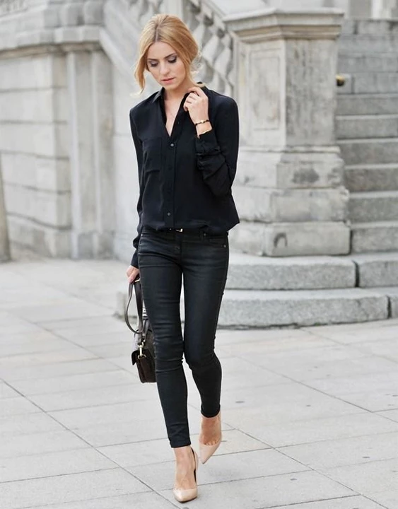 women-outfit-shirt-and-jeans What Women Should Wear for a Business Meeting [60+ Outfit Ideas]