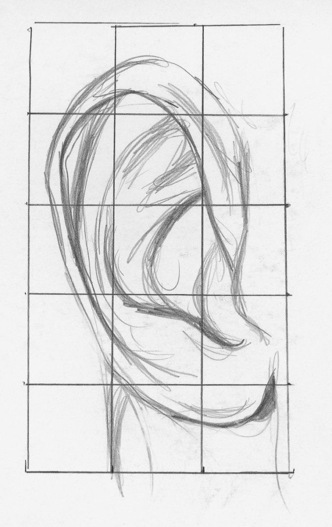 Adding-the-ear-1-675x1070 How to Draw a Realistic Face Step By Step