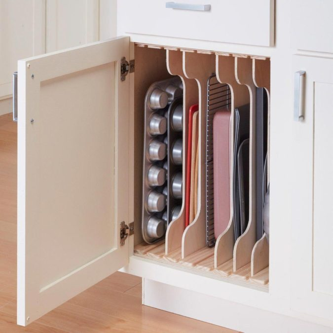 Creating-cutting-board-slots.-675x675 100+ Smartest Storage Ideas for Small Kitchens in 2021
