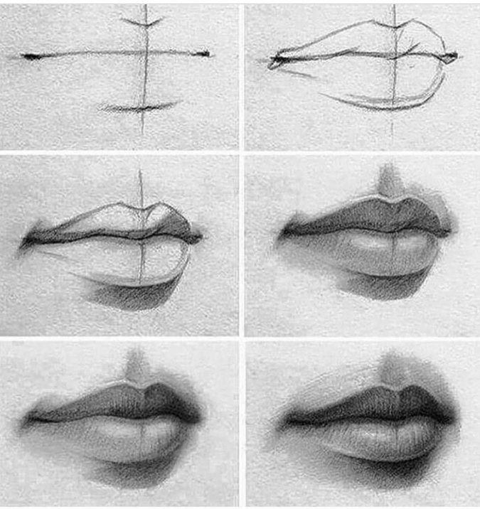 Drawing-the-mouth-1-675x716 How to Draw a Realistic Face Step By Step