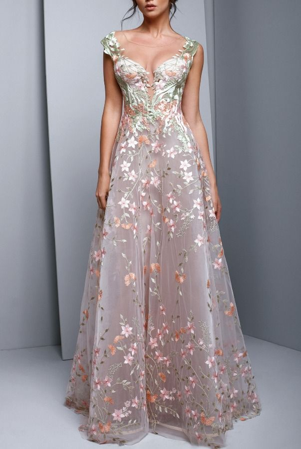 Embroidered-floral-gown-2 120 Splendid Women's Outfits for Evening Weddings