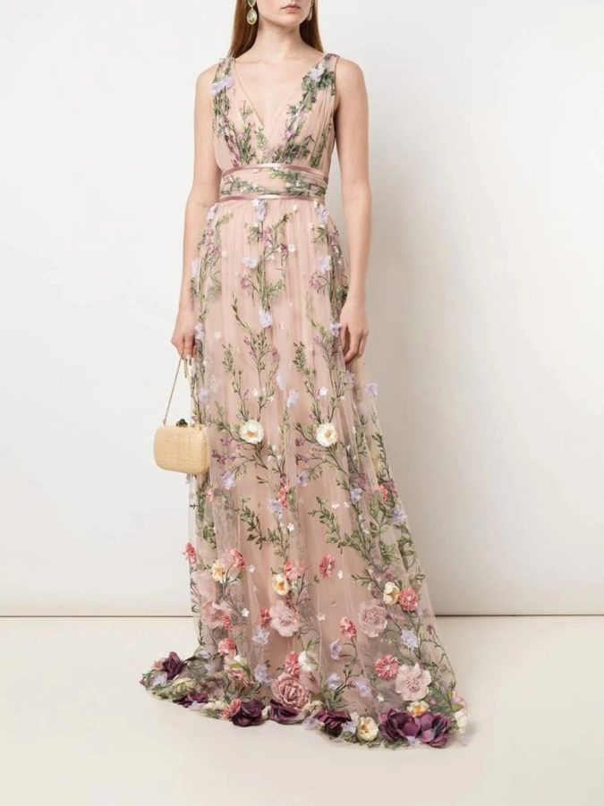 Embroidered-floral-gown-4-675x901 120 Splendid Women's Outfits for Evening Weddings
