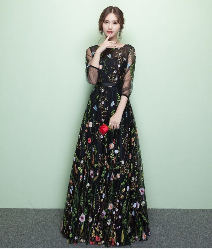 Embroidered-floral-gown.-1-675x792 120 Splendid Women's Outfits for Evening Weddings