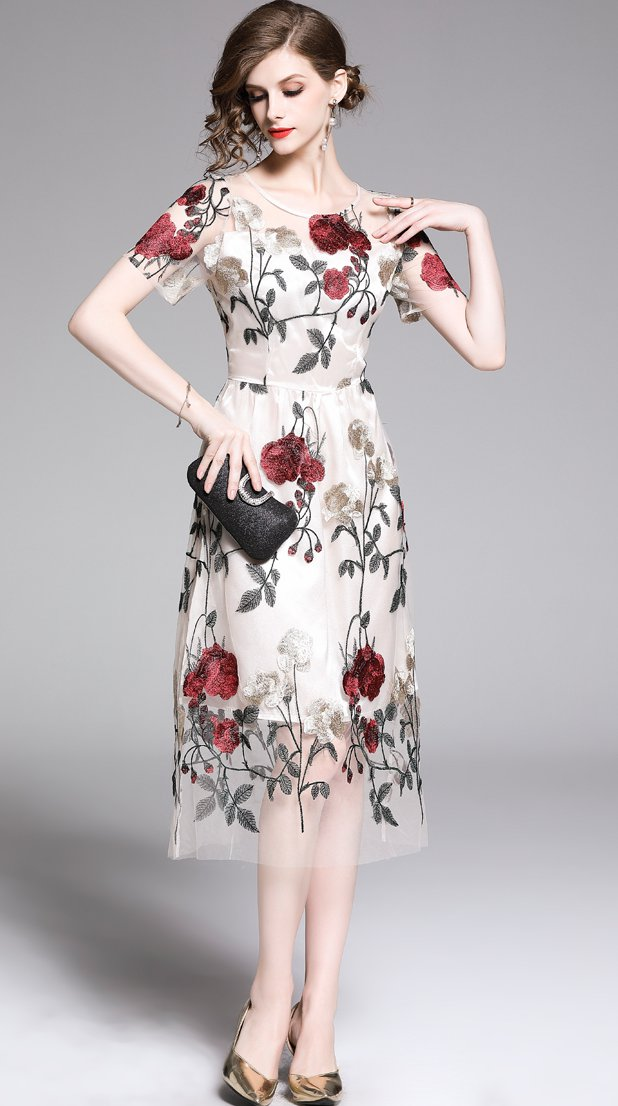 Embroidered-flower-dress- 120+ Breathtaking Birthday Party Outfits for Ladies