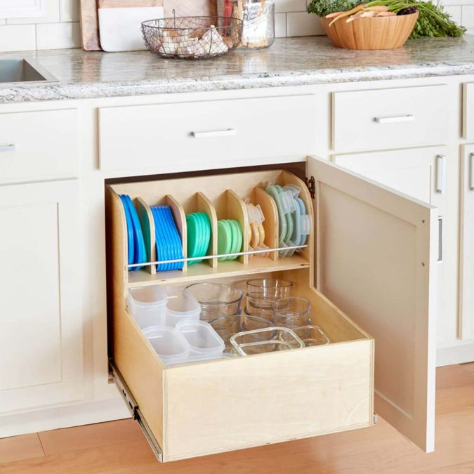 Food-container-drawer-organizer-675x675 100+ Smartest Storage Ideas for Small Kitchens in 2021