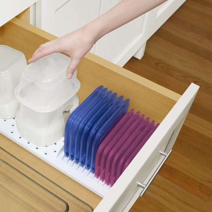 Food-container-drawer-organizer.-675x675 100+ Smartest Storage Ideas for Small Kitchens in 2021