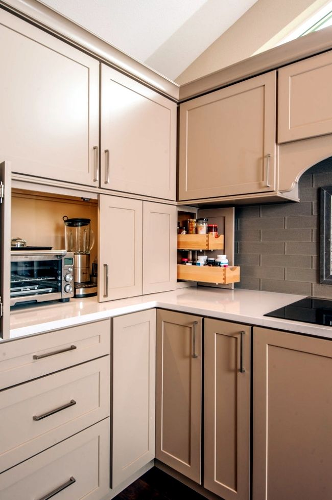 Hiding-appliances 100+ Smartest Storage Ideas for Small Kitchens in 2021