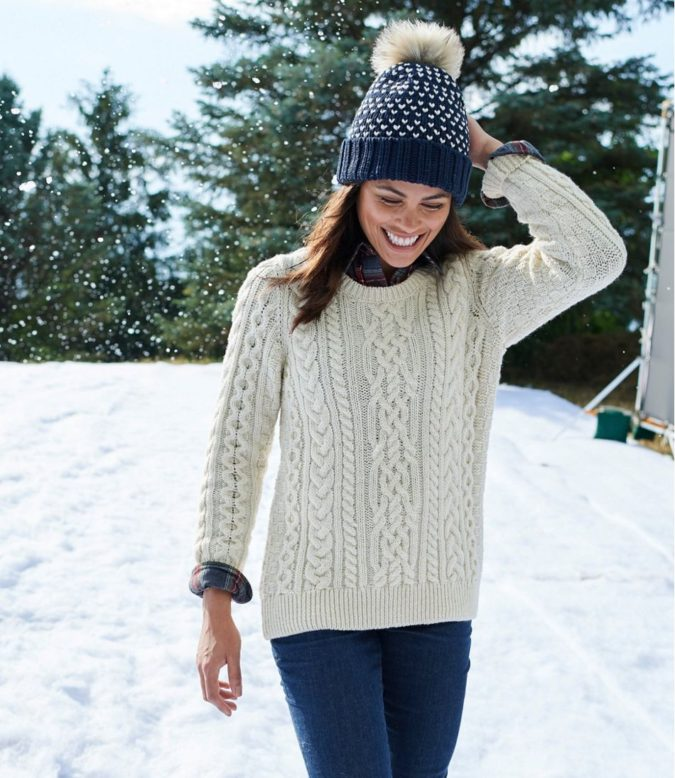 Knit-sweater-cap-and-jeans-1-675x778 140+ Lovely Women's Outfit Ideas for Winter 2020 / 2021