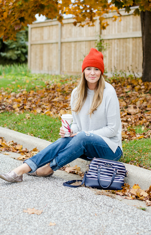Knit-sweater-cap-and-jeans.-1 140+ Lovely Women's Outfit Ideas for Winter 2020 / 2021