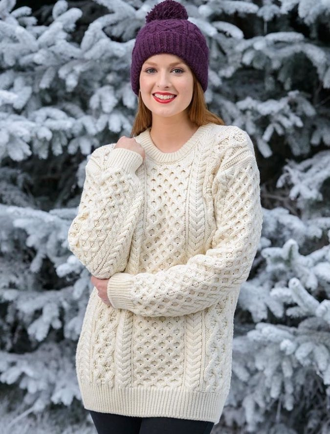 Knit-sweater-cap-and-jeans.-675x887 140+ Lovely Women's Outfit Ideas for Winter 2020 / 2021