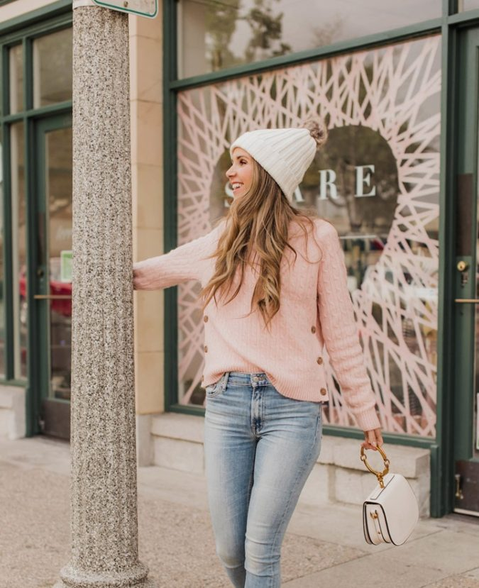 Knit-sweater-cap-and-jeans..-1-675x829 140+ Lovely Women's Outfit Ideas for Winter 2020 / 2021