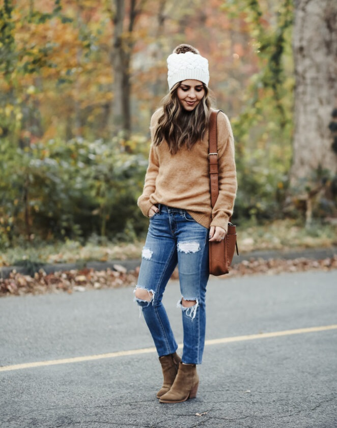 Knit-sweater-cap-and-jeans 140+ Lovely Women's Outfit Ideas for Winter 2020 / 2021