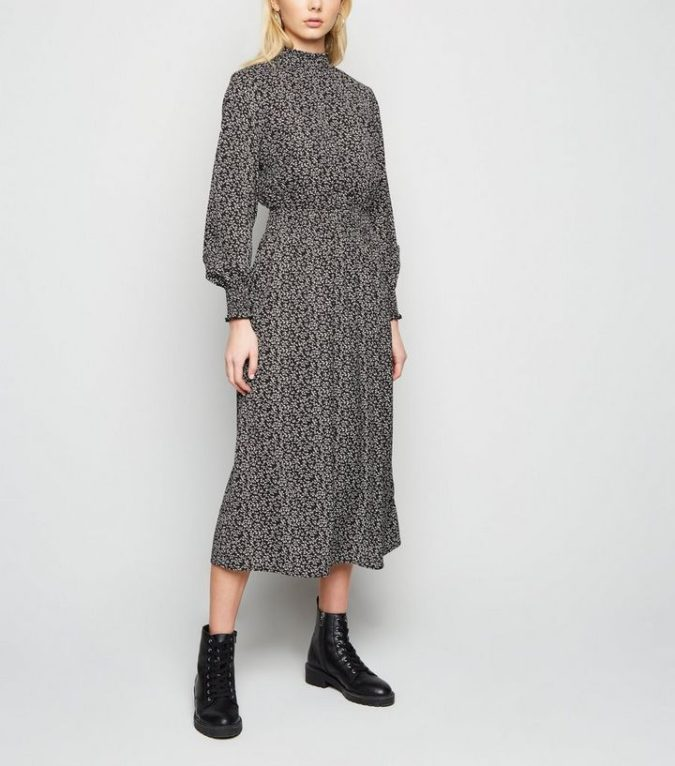Long-sleeve-midi-dress..-1-675x766 140+ Lovely Women's Outfit Ideas for Winter 2020 / 2021