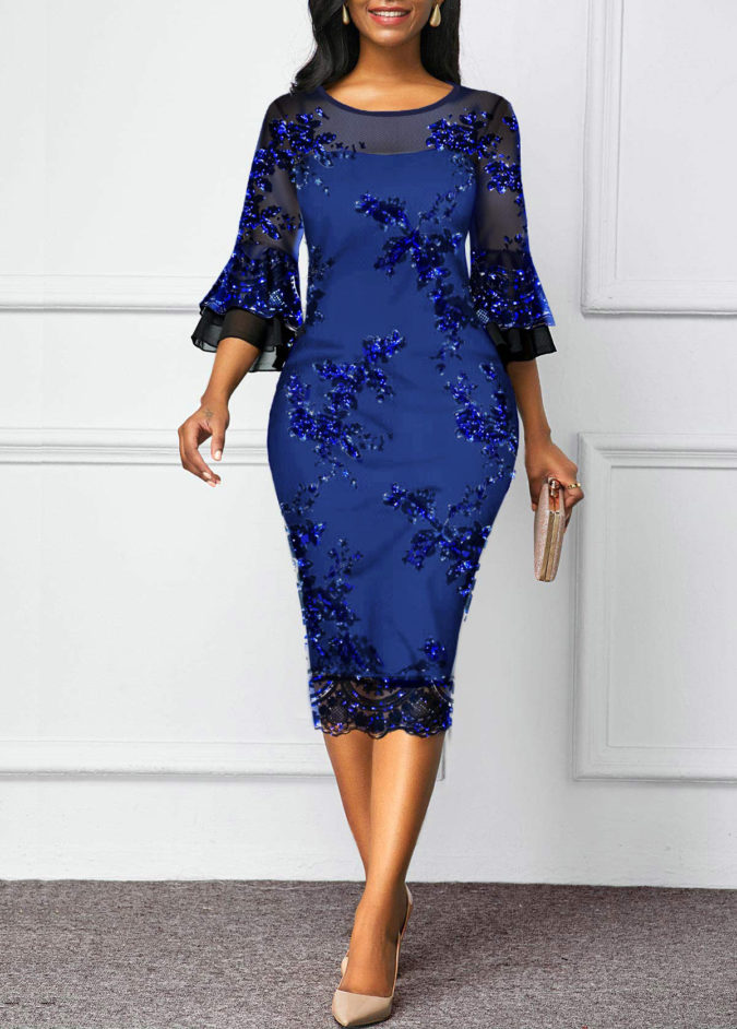 Mesh-sheath-dress-675x942 120 Splendid Women's Outfits for Evening Weddings