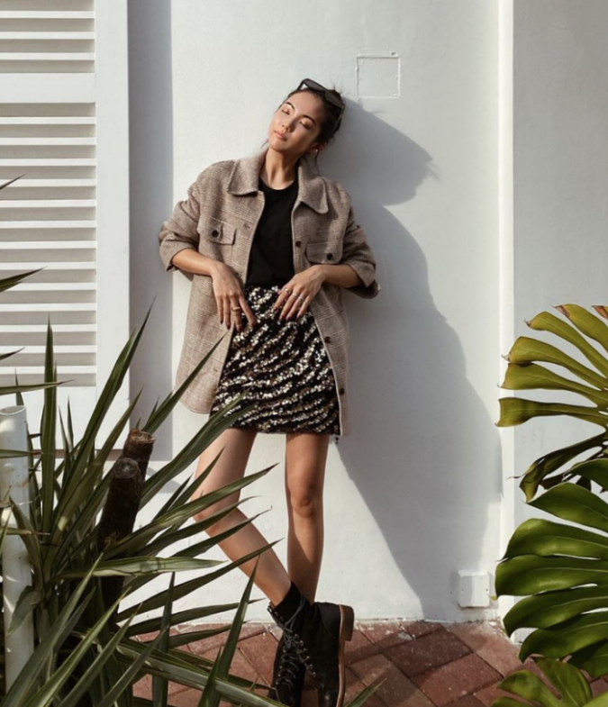 Mini-skirt-and-casual-jacket-675x785 140 First-Date Outfit Ideas That Make You Special