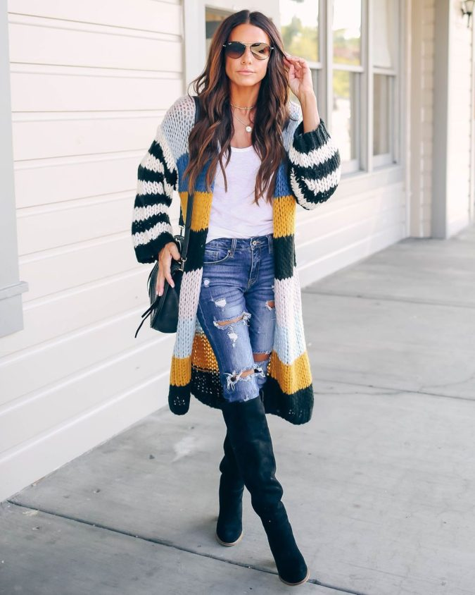 Open-Front-Knit-Sweater-1-675x844 140+ Lovely Women's Outfit Ideas for Winter in 2021