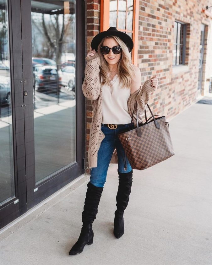 Open-Front-Knit-Sweater.-1-675x844 140+ Lovely Women's Outfit Ideas for Winter 2020 / 2021