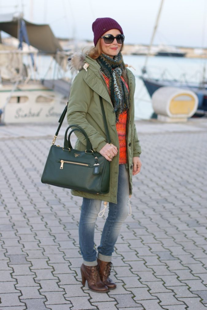 Parka-jacket-and-a-scarf-.-1-675x1008 140+ Lovely Women's Outfit Ideas for Winter 2020 / 2021