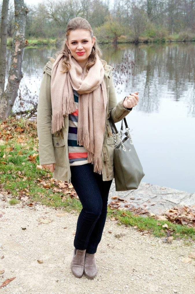 Parka-jacket-and-a-scarf-.-675x1014 140+ Lovely Women's Outfit Ideas for Winter 2020 / 2021