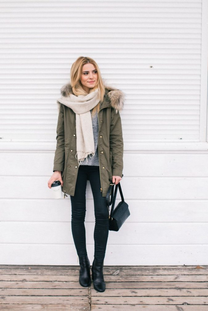Parka-jacket-and-a-scarf-1-675x1012 140+ Lovely Women's Outfit Ideas for Winter 2020 / 2021