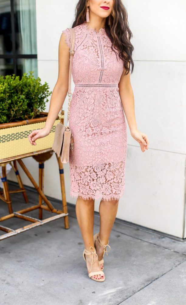 Pink-lace-dress-1 120 Splendid Women's Outfits for Evening Weddings