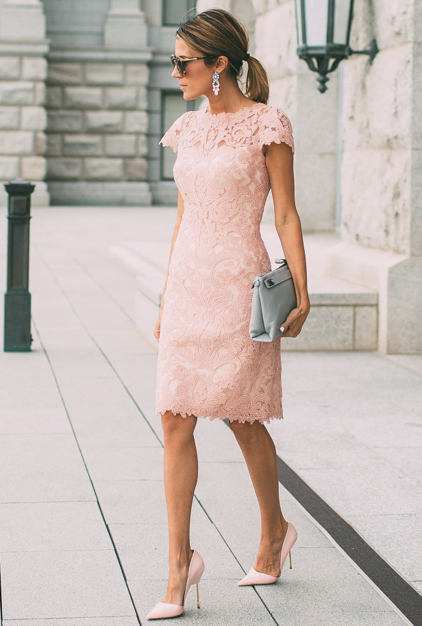 Pink-lace-dress. 120 Splendid Women's Outfits for Evening Weddings