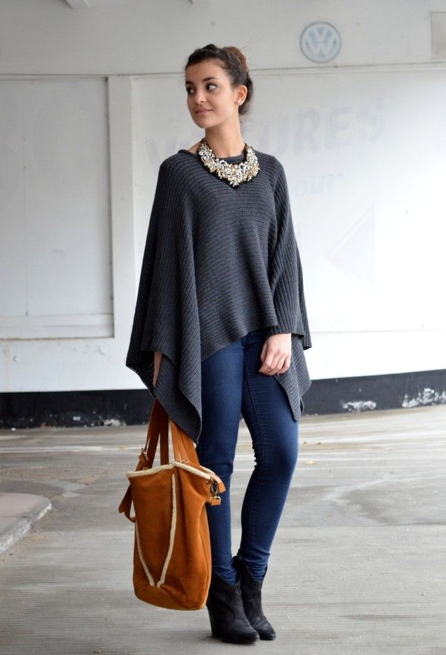 Poncho-jacket-and-jeans-1 140+ Lovely Women's Outfit Ideas for Winter 2020 / 2021