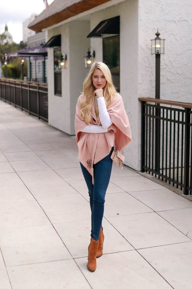 Poncho-jacket-and-jeans.-1-675x1013 140+ Lovely Women's Outfit Ideas for Winter 2020 / 2021