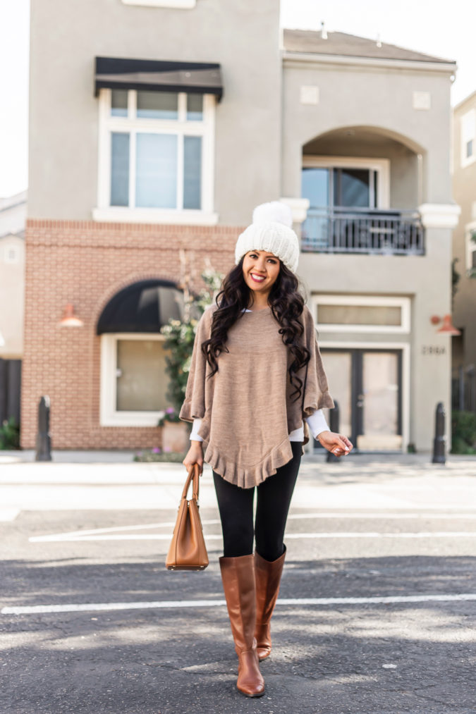 Poncho-jacket-and-jeans.-675x1013 140+ Lovely Women's Outfit Ideas for Winter 2020 / 2021
