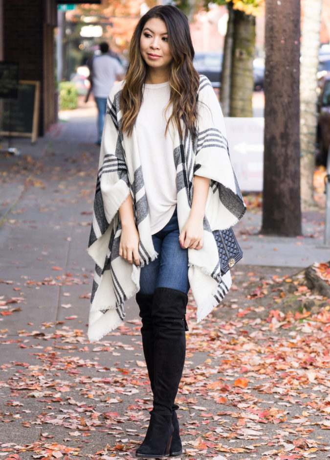Poncho-jacket-and-jeans..-4-675x940 140+ Lovely Women's Outfit Ideas for Winter 2020 / 2021