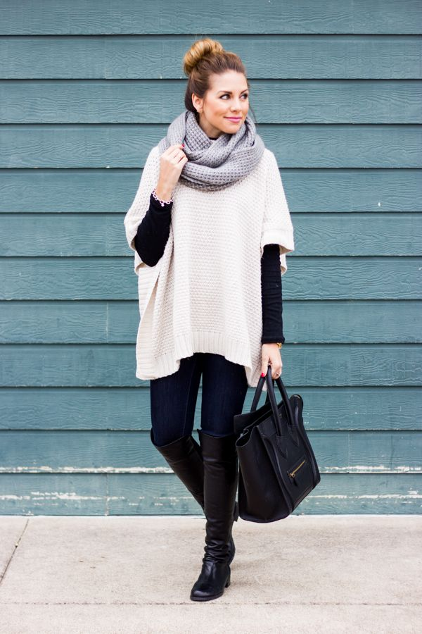 Poncho-jacket-and-jeans.. 140+ Lovely Women's Outfit Ideas for Winter 2020 / 2021