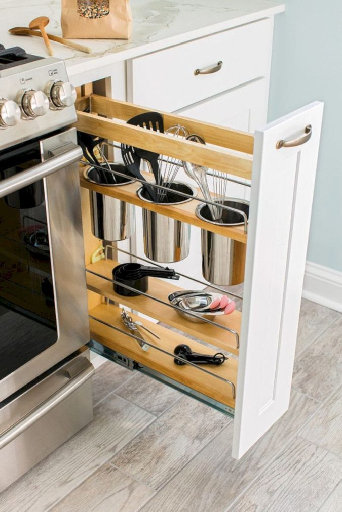 Pull-out-pantry-1-675x1012 100+ Smartest Storage Ideas for Small Kitchens in 2021