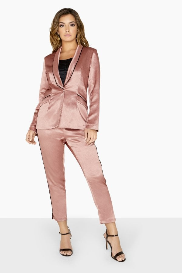 Satin-suit-. 120+ Breathtaking Birthday Party Outfits for Ladies