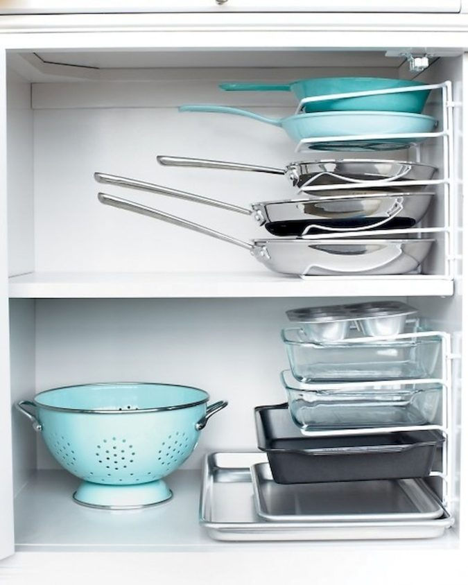 Storing-pans-sideways.-1-675x844 100+ Smartest Storage Ideas for Small Kitchens in 2021