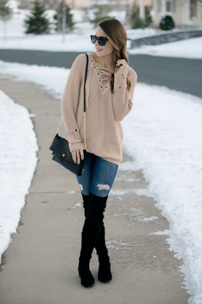 Sweater-and-boots.-1-675x1013 140+ Lovely Women's Outfit Ideas for Winter in 2021