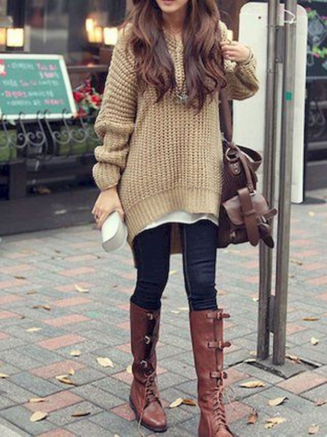 Sweater-and-boots.-4 140+ Lovely Women's Outfit Ideas for Winter in 2021