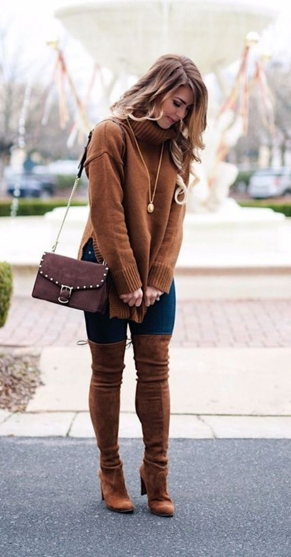 Sweater-and-boots..-1 140+ Lovely Women's Outfit Ideas for Winter in 2021