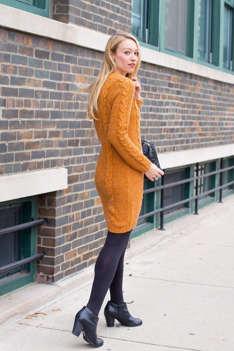 Sweater-dress-and-hose.-2-e1601773390726 140+ Lovely Women's Outfit Ideas for Winter 2020 / 2021